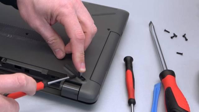 HP Notebook 255 öffnen M.2 SSD ausbauen - 2TB SATA HDD einbauen - Bios einstellen - Windows 10 installieren - Schrauben entfernen
