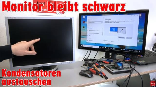 Computer PC-Monitor bleibt schwarz - kein Bild - OSD dunkel - Kondensatoren tauschen - linker Monitor zeigt kein Bild