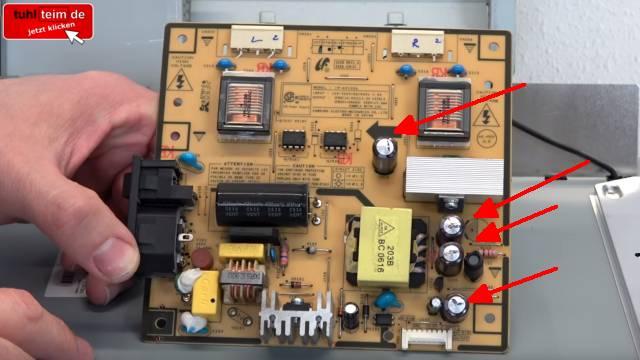 Computer PC-Monitor bleibt schwarz - kein Bild - OSD dunkel - Kondensatoren tauschen - defekte Kondensatoren