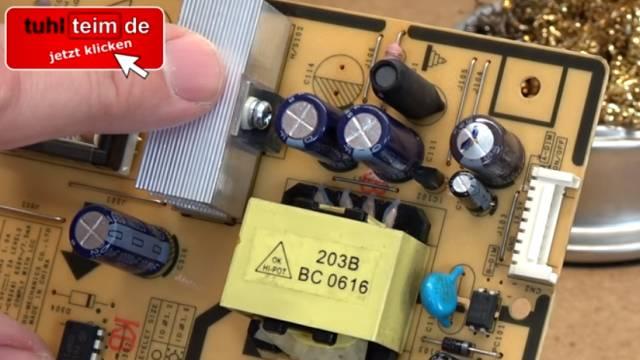 Computer PC-Monitor bleibt schwarz - kein Bild - OSD dunkel - Kondensatoren tauschen - Kondensatoren - Polung beachten