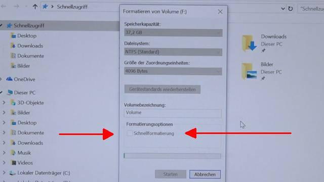 Festplatte auf Ebay mit 14.365 privaten Fotos gekauft - Wie löscht man eine Festplatte richtig - Windows 10 Schnellformatierung deaktivieren