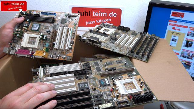 Zuschauerpakete mit Hardware auspacken - 2x DOM - Mainboards - 6x CPU - HDDs - Grafikkarten - 3 Mainboards aus den 90ern
