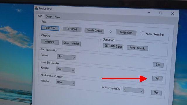 "Canon Pixma Zähler zurücksetzen - Tintenauffangbehälter Resttintentank voll - Reset Service Tool 3400 - Tool starten und ""Clear Ink Counter"""