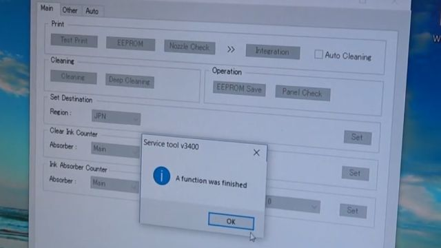 "Canon Pixma Zähler zurücksetzen - Tintenauffangbehälter Resttintentank voll - Reset Service Tool 3400 - ""A function was finished"""