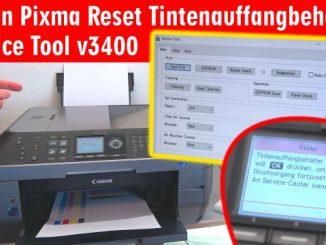 Canon Pixma Zähler zurücksetzen - Tintenauffangbehälter Resttintentank voll - Reset Service Tool 3400