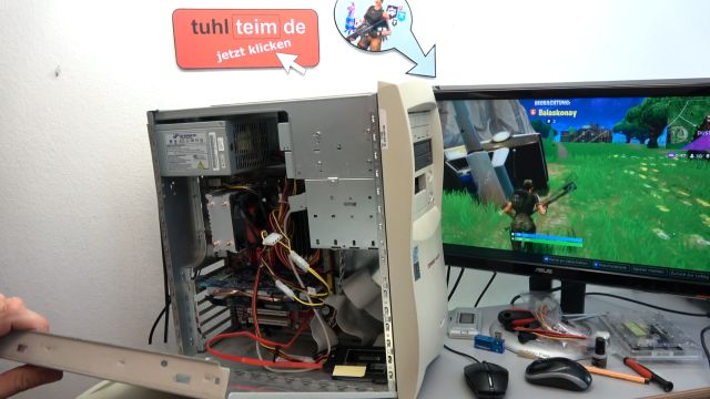 Fortnite auf kostenlosem Sperrmüll-PC - stabiles und schweres Compaq Originalgehäuse