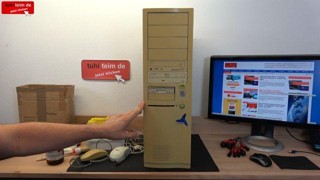 Vergilbtes Computergehäuse bleichen und reinigen - Retrobright herstellen - stark vergilbtes BigTower-PC-Gehäuse