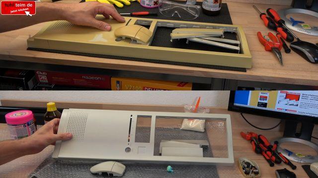 Vergilbtes Computergehäuse bleichen und reinigen - Retrobright herstellen - vorher: oben und nach dem Bleichen: unten