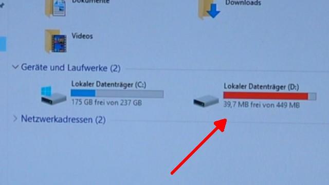 Windows 10 Laufwerk D ist voll - neuer Laufwerksbuchstabe nach Update - Laufwerk entfernen - 450MB - fast voll