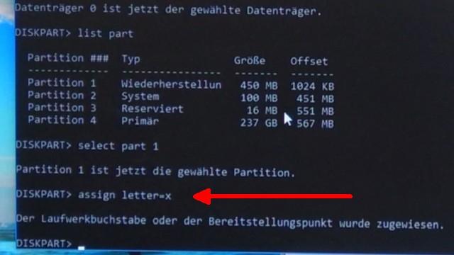 Windows 10 Laufwerk D ist voll - neuer Laufwerksbuchstabe nach Update - Diskpart - assign letter