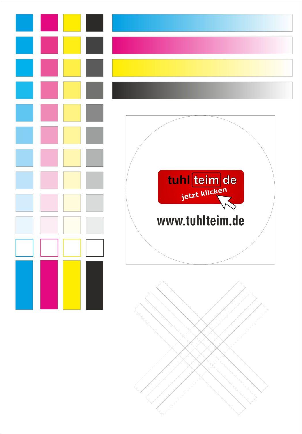 Testseite für Tintenstrahldrucker - Druckertest - Tuhl Teim DE