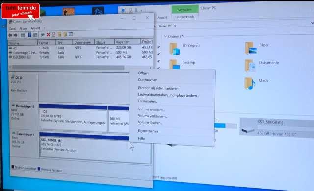 Zweite Festplatte oder SSD einbauen in Windows 10 – einfach