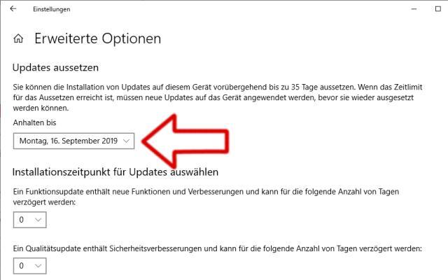 Windows Updates Pausieren